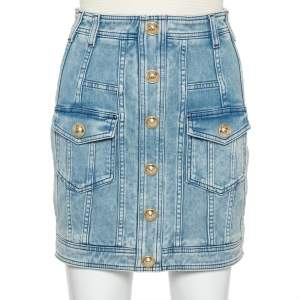 Balmain Blue Light Wash Denim Button Detail Mini Skirt M