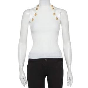 Balmain White Rib Knit Button Embellished Cutaway Top S