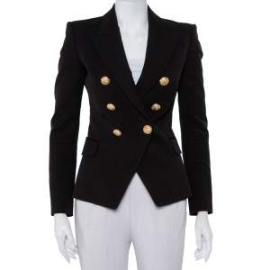 Balmain Black Cotton & Modal Double Breasted Fitted Blazer S