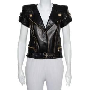 Balmain Black Leather Quilted Detail Short Sleeve Biker Jacket S