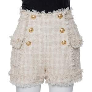 Balmain Cream Tweed Button Detail Shorts S