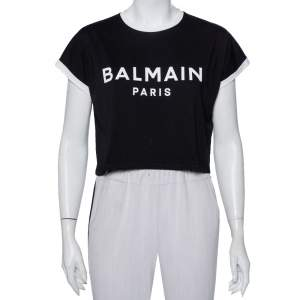 Balmain Black Logo Printed Cotton Crop Top XXS