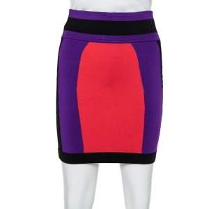 Balmain Colorblock Knit Mini Skirt S