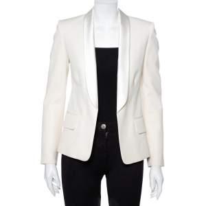 Balmain Cream Wool Satin Trim Open Front Blazer M