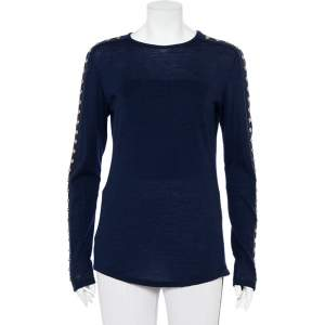 Balmain Navy Blue Wool Studded Detail Sweater L