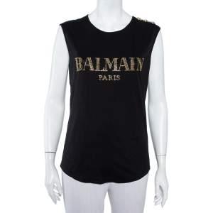 Balmain Black Cotton Logo Embellished Sleeveless T-Shirt S