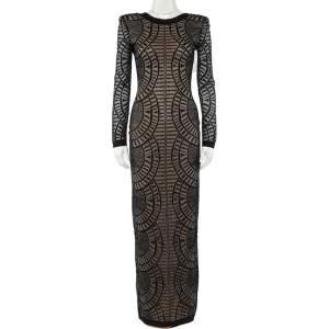 Balmain Black Perforated Stretch Knit Long Sleeve Dress S