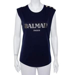 Balmain Navy Blue Logo Printed Cotton Button Detail Tank Top S