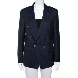Balmain Navy Blue Textured Wool Double Breasted Blazer L