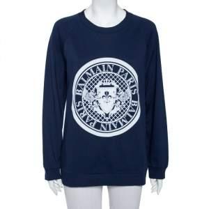 Balmain Navy Blue Cotton Logo Stamp Detail Sweatshirt S