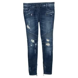 Balmain Blue Denim Distressed Biker Jeans  S