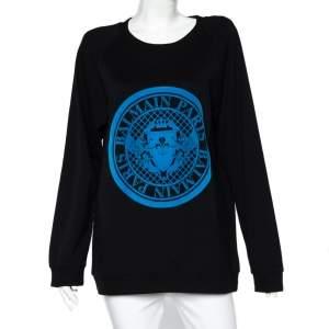 Balmain Black Cotton Knit Fleece Logo Detail Oversized Sweatshirt M