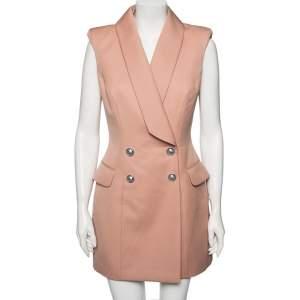 Balmain Peach Wool Double Breasted Sleeveless Mini Dress M