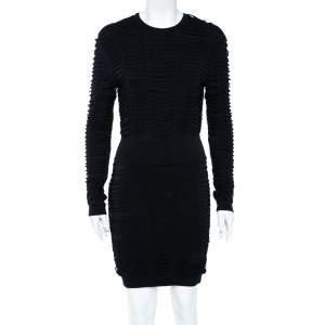 Balmain Black Jersey Distressed Overlay Round Neck Mini Dress S