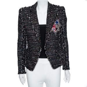 Balmain Black Tinsel Tweed Embellished Patch Detail Blazer S
