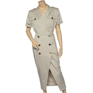 Balmain Beige Stretch Cotton Double Breasted Dress M