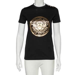 Balmain Black & Gold Medallion Print Cotton Button Detail T-Shirt XS