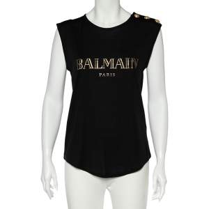 Balmain Black Logo Print Cotton Button Detail Sleeveless T-Shirt M