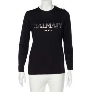 Balmain Black Logo Print Cotton Button Detail Long Sleeve T-Shirt XS