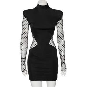 Balmain Black Jersey Polka Dotted Mesh Inset Detail Short Dress M
