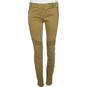 Balmain Olive Green Embellished Denim Biker Jeans M