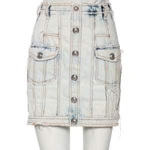 Balmain Light Blue Washed Out Denim Button Detail Mini Skirt S