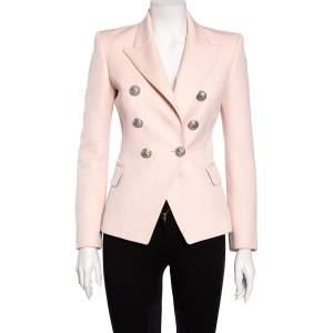 Balmain Light Pink Wool Double Breasted Blazer S
