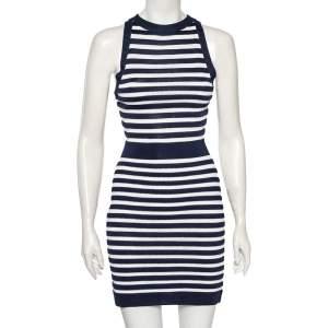 Balmain Navy Blue Striped Knit Sleeveless Dress S