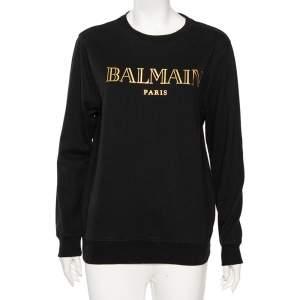 Balmain Black Cotton Logo Printed Crew Neck Sweatshirt S