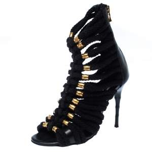 Balmain Black Canvas Strappy Sandals Size 37