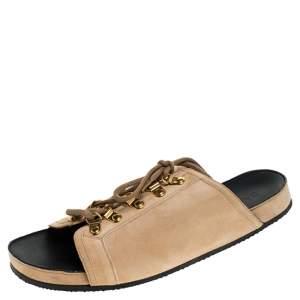 Balmain Beige Suede Lace Up Flat Sandals Size 36