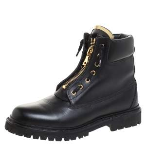 Balmain Black Leather Taiga Ankle Boots Size 40