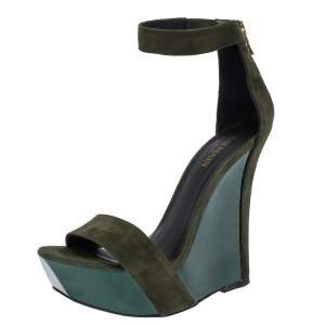 Balmain Green Suede Leather Samara Wedge Platform Ankle Cuff Sandals Size 37
