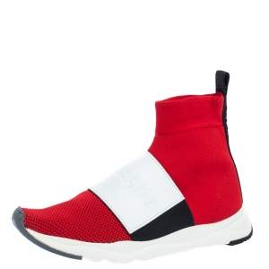 Balmain Red/White Stretch Knit and Leather Embossed Logo High Top Sneakers Size 36.5