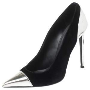 Balmain Black/Silver Velvet and Leather Daphne Pumps Size 41
