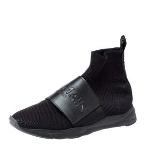 Balmain Black Fabric and Leather Cameron Sock Sneakers Size 40