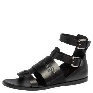 Balmain Black Leather Chris Embossed Logo Flat Sandals Size 41