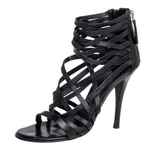 Balmain Black Leather Strappy Zipper Sandals Size 37.5