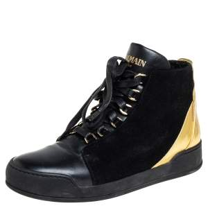 Balmain Black Suede And Leather High Top Sneakers Size 38