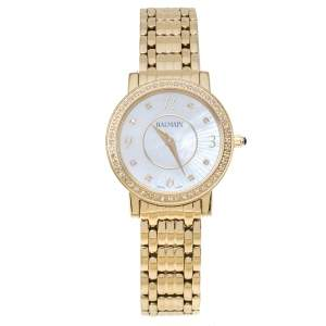 Balmain MOP Yellow Gold Plated Stainless Steel Diamond Elegance Chic Mini B1693.33.84 Women's Wristwatch 29 mm