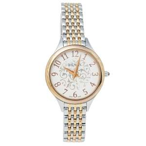 Balmain White Two-Tone Stainless Steel Balmain De Balmain II Mini Women's Wristwatch 29 mm
