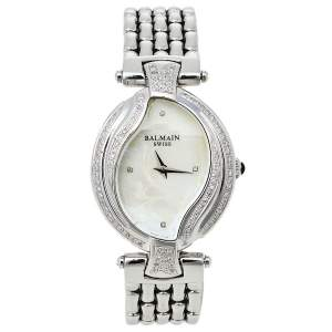 Balmain Mother Of Pearl Stainless Steel Diamonds Excessive 5451 Women's Wristwatch 32 mm