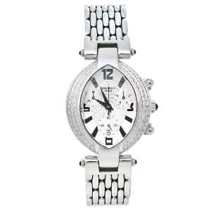 Balmain Silver Stainless Steel Diamond Chronograph Excessive 5831 Women's Wristwatch 32 mm