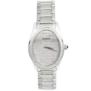 Balmain Silver Stainless Steel Diamond Oval 2671 Women's Wristwatch 32 mm