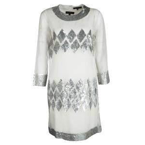 فستان باربرا بوي أورغانزا أبيض أوف وايت مزخرف ترتر M