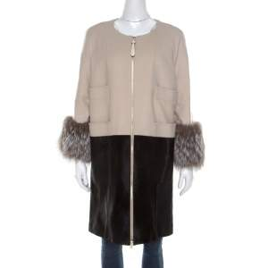 Barbara Bui Bicolor Cashmere Wool and Calf Hair Paneled Long Coat M