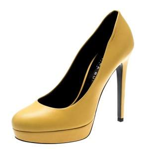 Barbara Bui Yellow Leather Platform Pumps Size 38