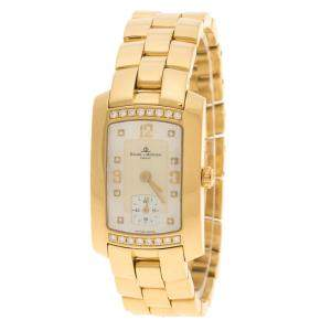 Baume and Mercier Mother of Pearl 18K Yellow Gold and Diamond Hampton Milleis Women's Wristwatch 22 mm