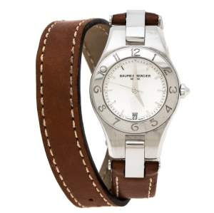 Baume & Mercier Silver Stainless Steel Linea 65690 Women's Wristwatch 27 mm