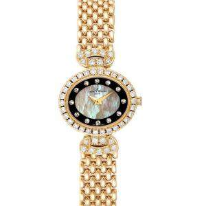 Baumer Mercier MOP Diamonds 18K Yellow Gold 18523 Women's Wristwatch 22x19.5MM